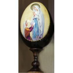 Huevo madera 13 cm Virgen de Lourdes