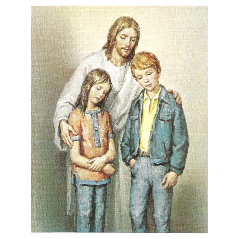 Jesús con niños 20x25