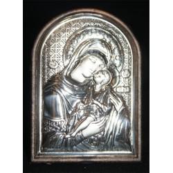 Icono plata borde redondo 6x4 cm.
