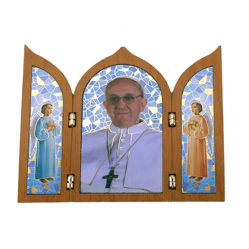 Tríptico efecto madera Papa Francisco