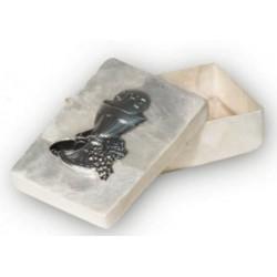 Rosariera de nácar con placa de plata