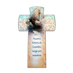 Crucifijo en piedra sintética Virgen de Lourdes
