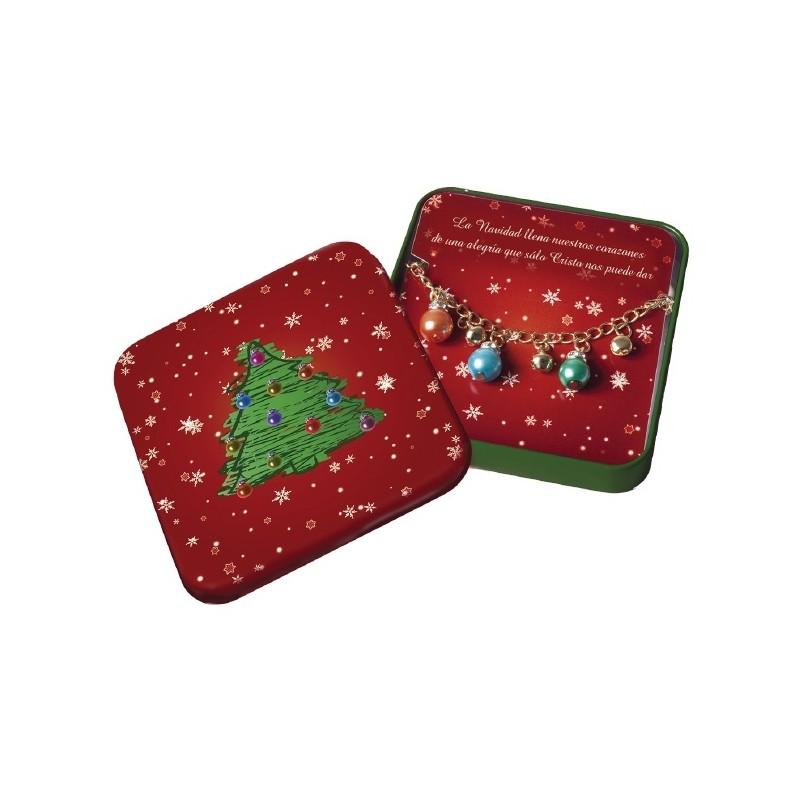 Caja de metal con pulsera de Navidad