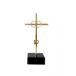 Cruz metal con anillos 50 aniversario – 14 cm.
