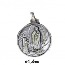 Medalla Plata 16mm Virgen de Lourdes